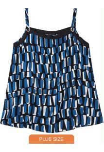 Blusa Azul Abstrata Com Ilhós