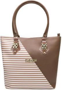 Bolsa Tote Fashion Listras Bf20-02 Feminina - Feminino-Marrom+Branco