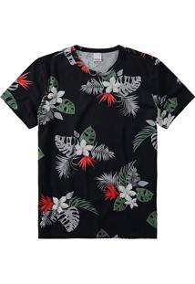 Camiseta Slim Malha Floral Malwee