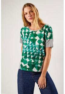 T-Shirt Malha Est Lenço Tibet Sacada Feminino - Feminino-Verde