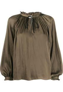Zadig&Voltaire Theresa Gathered Detail Blouse - Verde