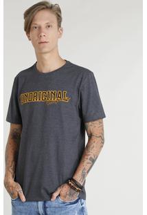 "Camiseta Masculina ""Unoriginal California"" Manga Curta Gola Careca Cinza Mescla Escuro"