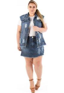 Colete Jeans Confidencial Extra Plus Size Destroyed Feminino - Feminino