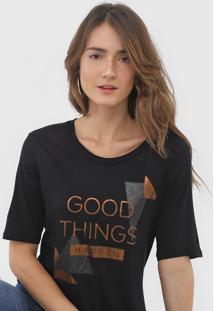 Camiseta Morena Rosa Lettering Preta - Preto - Feminino - Viscose - Dafiti