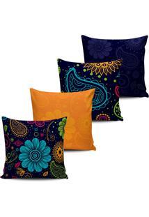 Kit 4 Capas Almofadas Estampa Floral Azul E Laranja 45X45Cm - Multicolorido - Dafiti