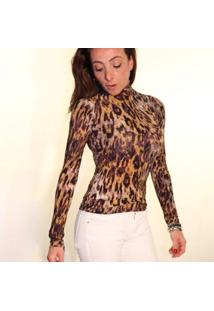 Blusa Coolest Animal Print Estampa Tigre Dupla Face Feminina - Feminino-Marrom+Preto