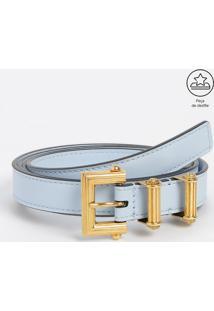 Cinto Em Couro Com Passantes Metálicos - Azul Claro & Doversace