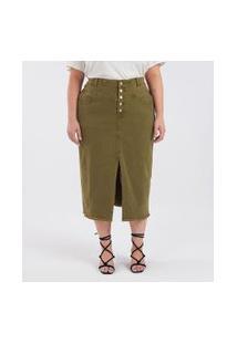 Saia Jeans Com Barra Desfiada E Fenda Curve & Plus Size | Ashua Curve E Plus Size | Verde | 46