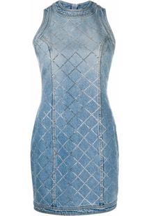 Balmain Vestido Jeans Slim Com Aplicação De Strass - Azul