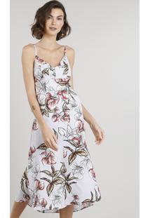 Vestido Feminino Midi Estampado Floral Com Fenda E Babado Alças Finas Decote V Lilás