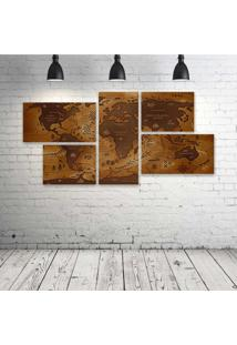Quadro Decorativo - World-Map- - Composto De 5 Quadros