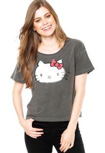 Blusa Manga Curta Ellus Hello Kitty Cinza