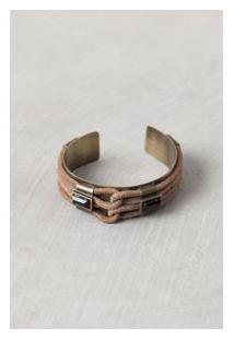 Bracelete Trançado Metal Ouro Velho