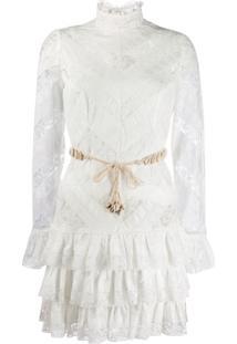 Zimmermann Vestido Com Amarração E Recortes Em Renda - Branco