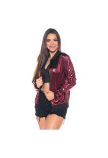 Jaqueta Bomber M&A Modas Metalizada Vermelho