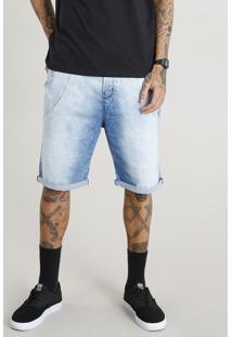 Bermuda Jeans Masculina Jogger Com Cordão Azul Claro