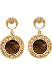 Brinco Kumbayá Redondo Semijoia Banho De Ouro 18K Pedra Natural Olho De Tigre Cravação De Zircônia