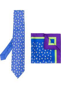 Etro Conjunto De Gravata E Lenço De Bolso Estampados - Azul