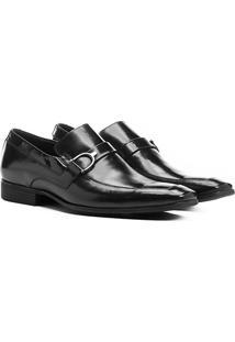 Sapato Social Couro Shoestock Ferragem - Masculino-Preto