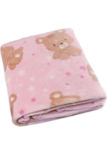 Cobertor Bebê Microfibra Flannel Camesa Rosa Urso