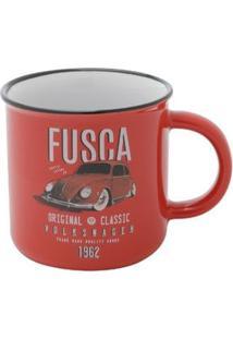 Caneca De Porcelana Fusca Classic Vermelho 220 Ml