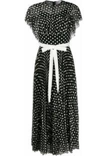 Redvalentino Vestido De Tule Com Bordado Floral - Preto
