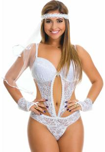 Body De Noiva Estilo Sedutor Transparente Com Bojo Luvas E Véu Branco