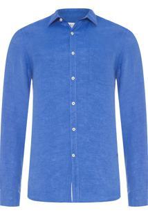 Camisa Masculina Linho Lisa - Azul