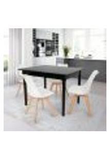 Conjunto Mesa De Jantar Robust 110X90 Preta Com 4 Cadeiras Eames Wood Leda - Branca