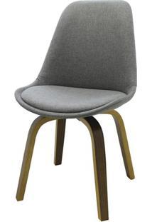 Cadeira Lis Eames Revestida Tecido Cinza Base Madeira Mescla - 51887 Sun House
