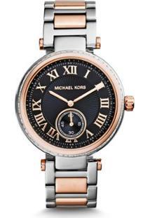 8400ccad5ac75 Zattini. Relógio Feminino Preto Bicolor Michael Kors Feminino-Prata Skylar  - Mk5957 5pn