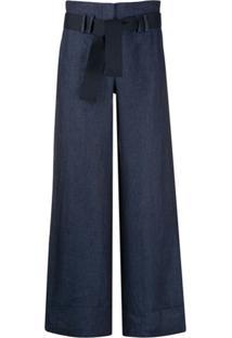 Eleventy Calça Pantalona Com Cinto - Azul