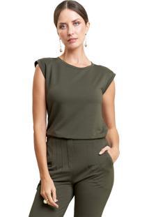 Blusa Mx Fashion Malha De Viscose Com Ombreira Hugo Verde