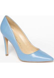 Scarpin Em Couro Com Salto Fino- Azul- Salto: 10,5Cmluiza Barcelos
