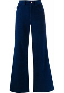 Marc Jacobs Calça Jeans Flare De Veludo Cotelê - Azul