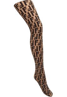 Fendi Meia-Calça Com Logo - Neutro
