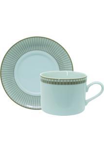 Conjunto De Xícaras Para Chá C/ Pires Porcelana Schmidt 06 Peças - Dec. Vera