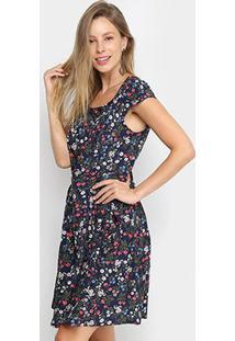 Vestido Pérola Evasê Floral - Feminino-Marinho