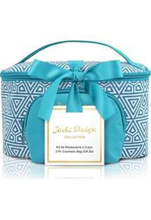 Kit Necessaire 2 Em 1 Geométrica Jacki Design Étnica Azul - Kanui