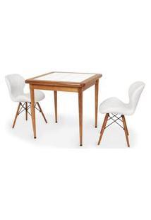 Conjunto Mesa De Jantar Em Madeira Imbuia Com Azulejo + 2 Cadeiras Slim - Branco