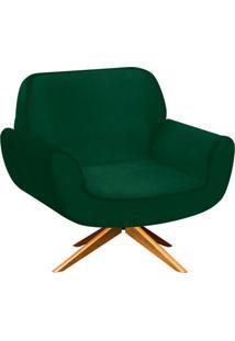 Poltrona D'Rossi Decorativa Estrela Suede Verde Com Base Giratória De Madeira
