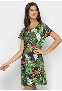 Vestido Royallove Curto Reto Tropical - Feminino-Preto