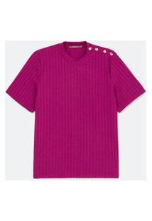 Blusa Canelada Com Botões Curve E Plus Size Roxo