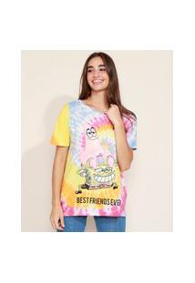 Camiseta Feminina Bob Esponja Estampada Tie Dye Manga Curta Multicor