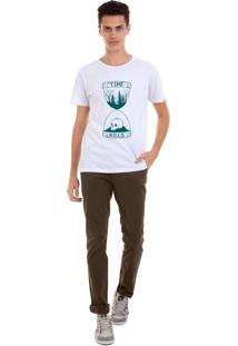 Camiseta Masculina Joss Time Kills Verde Branco