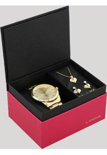 Kit De Relógio Analógico Lince Feminino + Brinco + Colar - Lrgj097L Kw15C1Kx Dourado - Único