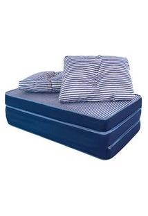 Puff Multiuso 3 Em 1 + Travesseiro Jacquard Azul Casal Bf Colchões