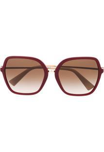Valentino Eyewear Óculos De Sol Quadrado Oversized - Vermelho