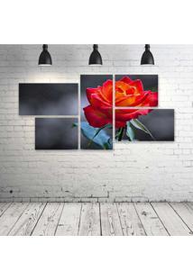 Quadro Decorativo - Rose-Flower-Love-Life-Red - Composto De 5 Quadros - Multicolorido - Dafiti