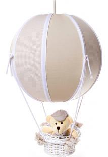 Lustre Balão Bolinha Urso Quarto Bebê Infantil Potinho De Mel Bege - Kanui